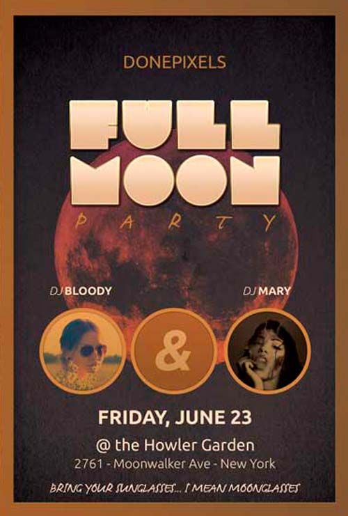 Full Moon Free Flyer PSD Template