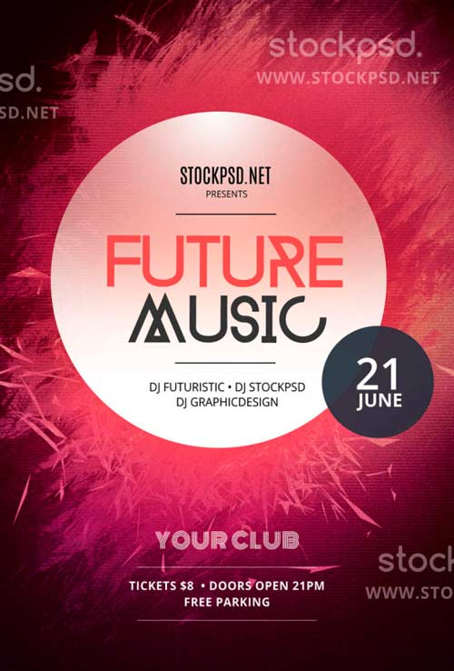 freepsdflyer download future music free psd flyer template for photoshop. Black Bedroom Furniture Sets. Home Design Ideas