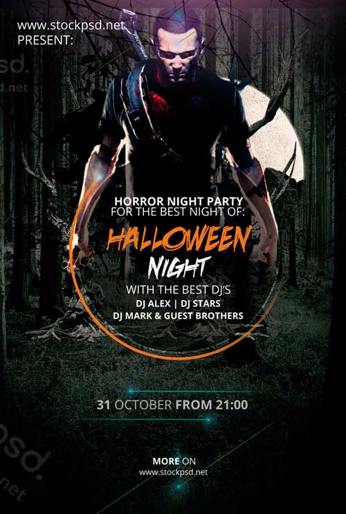 download halloween night free psd flyer template for photoshop