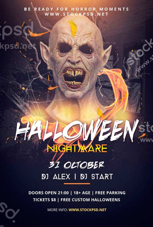 Download halloween nightmare free psd flyer template for Free halloween flyer templates