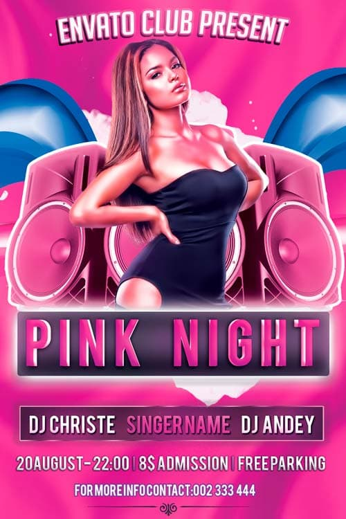 Download Free Pink Nights Flyer PSD Template