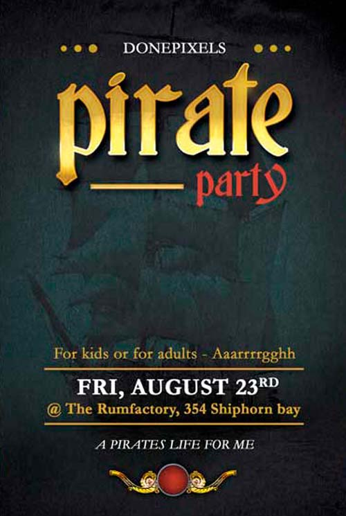 Free Pirate Party Flyer PSD Template