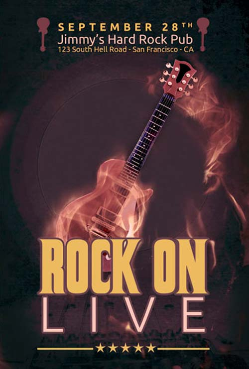 Rock Music Party Free Flyer PSD Template