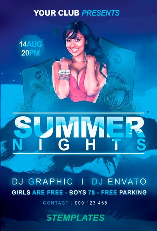 Free Summer Nights Flyer PSD Template