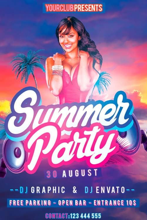 Freepsdflyer Download Summer Party Free Flyer Psd Template