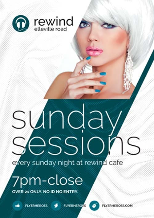 Free Sunday Sessions Flyer PSD Template