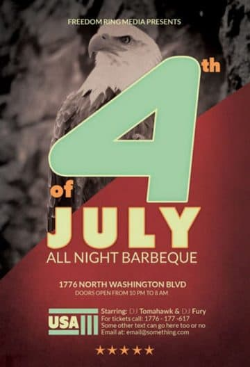 4th of July Free Flyer PSD Template