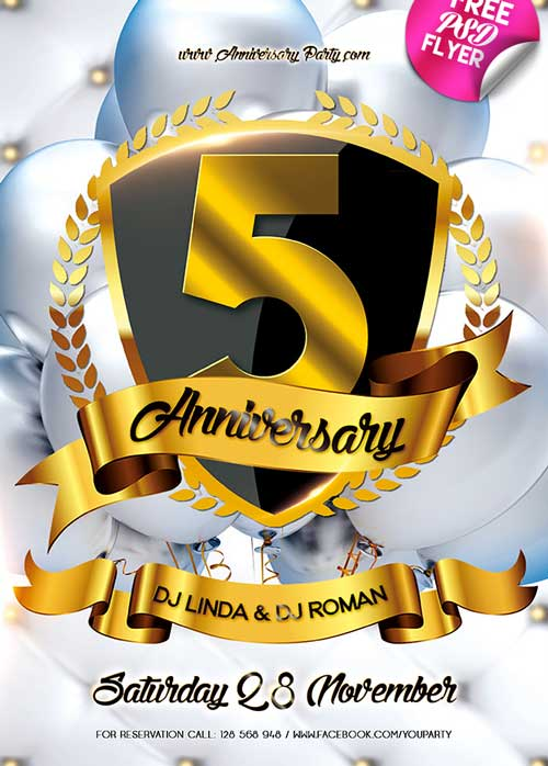 Anniversary Flyer | Download Anniversary Party Free Psd Flyer Template