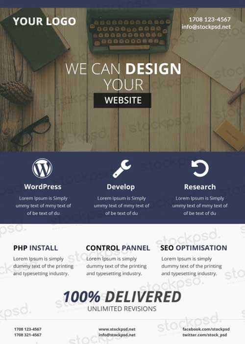Freepsdflyer  Download Web Design Business Free Psd Flyer Template