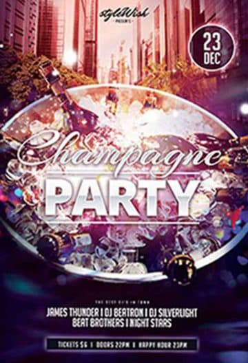 Champagne Party Free PSD Flyer Template