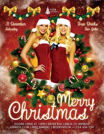 Free Christmas Party PSD Flyer Template