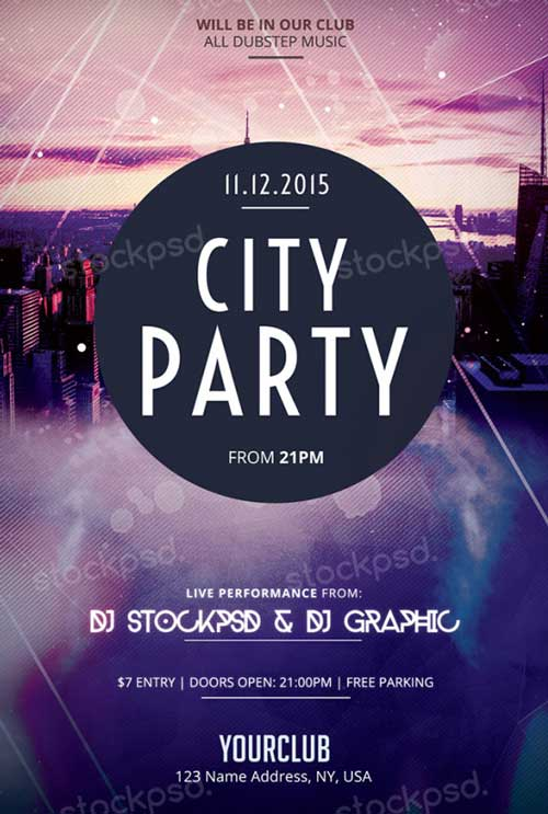 Freepsdflyer Download City Party Free Psd Flyer Template For Photoshop