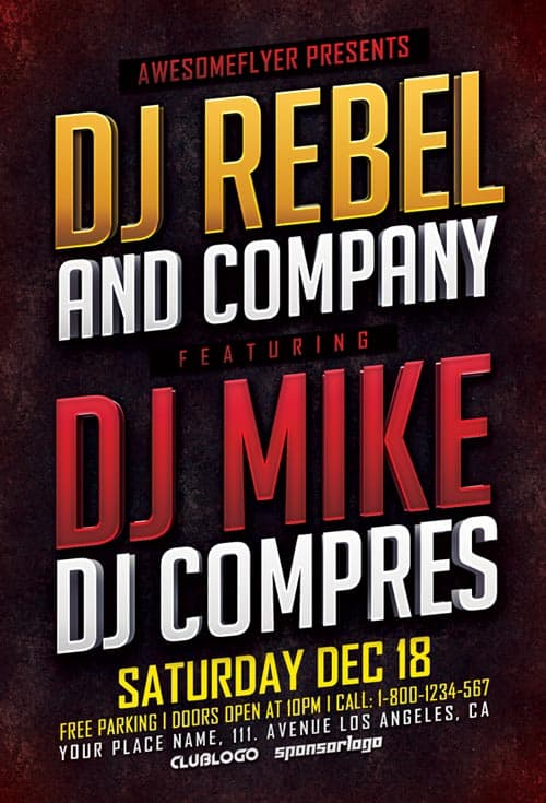 DJ Event Free Flyer PSD Template
