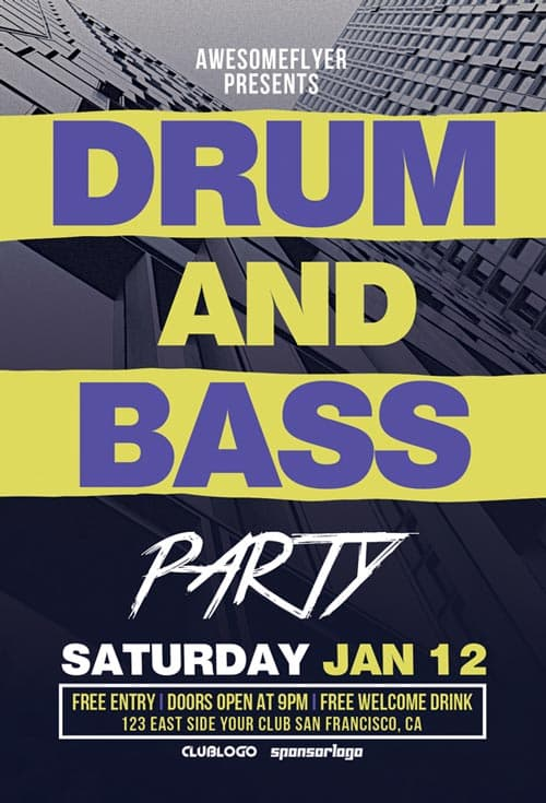 Drum and Bass Party Flyer PSD Template