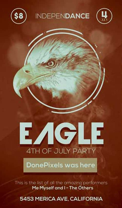 Eagle 4th of July Free Flyer PSD Template
