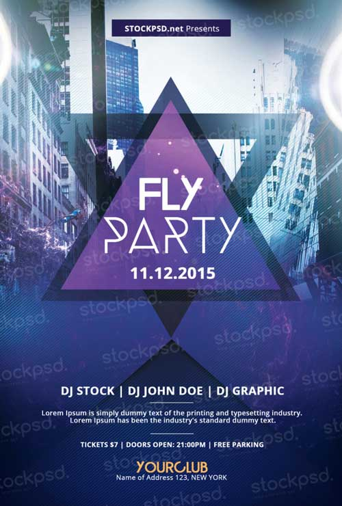 Fly Party Free PSD Flyer Template