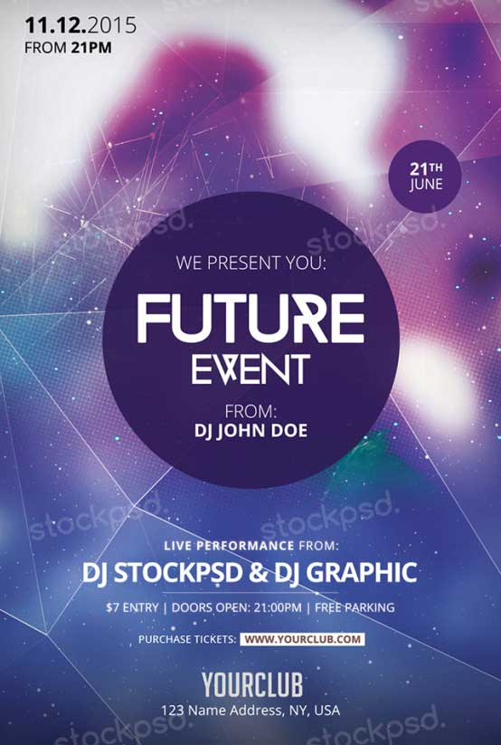 Freepsdflyer download future event free psd flyer for Free church flyer templates photoshop