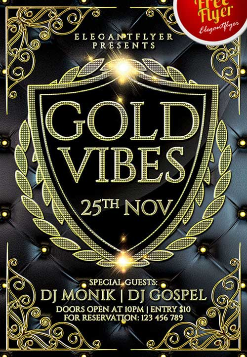 Free Elegant Gold Vibes PSD Flyer Template