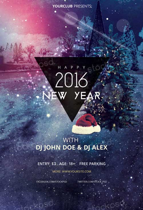 Download Happy New Year 2016 Free Psd Flyer Template