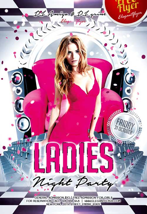 download ladies night free psd flyer template for photoshop freebies