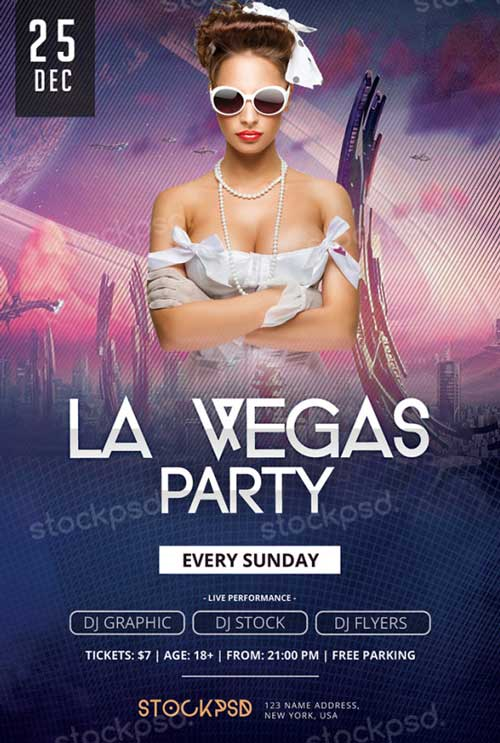 Freepsdflyer Download La Vegas Party Free Psd Flyer Template For
