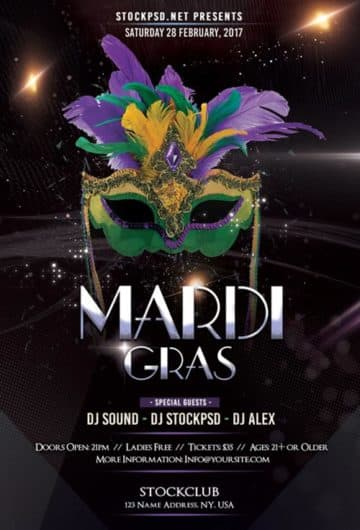 Mardi Gras Party PSD Flyer Template