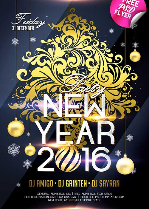 Download New Year  Free Psd Flyer Template