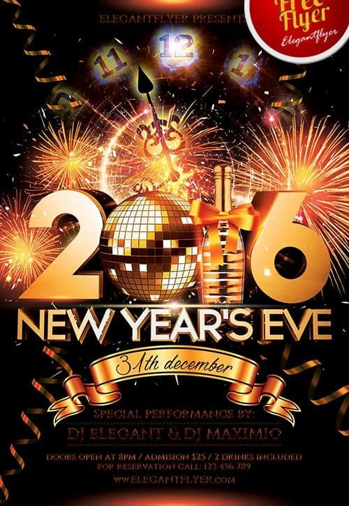 New Year Eve Free Psd Flyer Template  Download For Photoshop