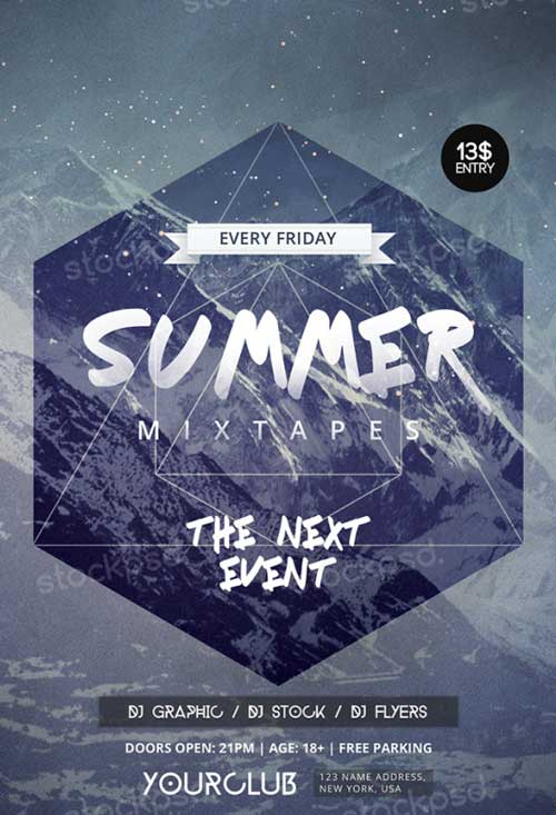 Summer Mixtapes Free PSD Flyer Template