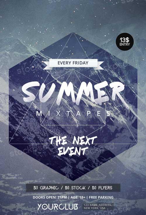 Summer Mixtapes Free PSD Flyer Template
