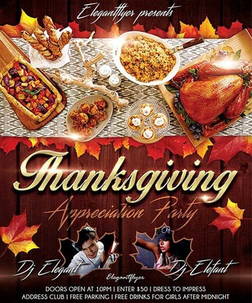 Happy Thanksgiving Event Free Psd Flyer Template
