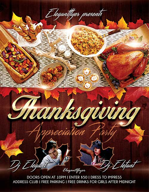 Download free thanksgiving flyer psd templates for photoshop happy thanksgiving event free psd flyer template pronofoot35fo Image collections