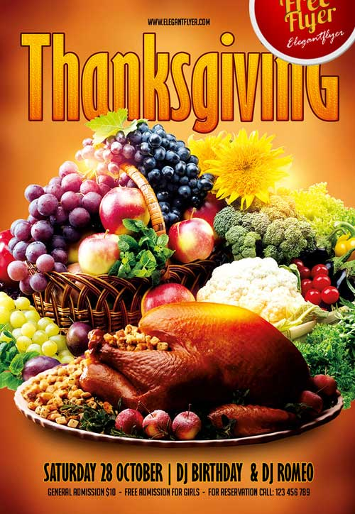 Free Thanksgiving Party PSD Flyer Template