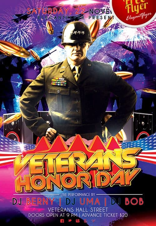 Veterans Day Celebration Free PSD Flyer Template