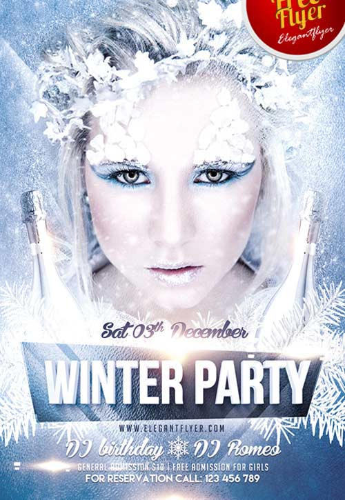 Freepsdflyer Download Winter Party Free Psd Flyer Template