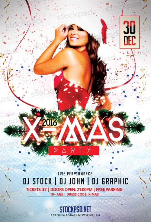 X-Mas Party 2016 Free PSD Flyer Template
