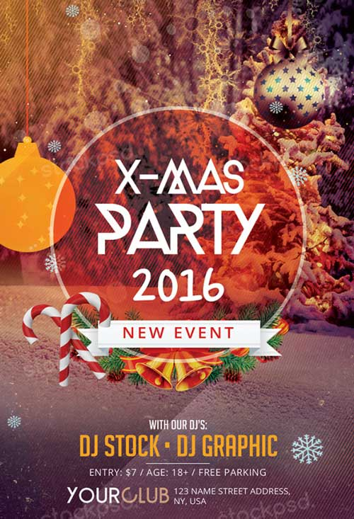 Freepsdflyer Download X Mas Party Free Psd Flyer Template For