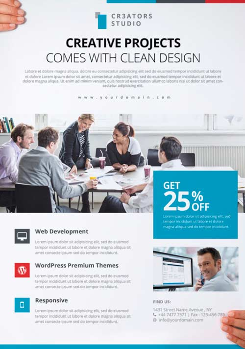 download modern business free psd flyer template for photoshop