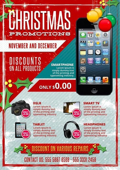 Christmas Business Promotions Free PSD Flyer Template