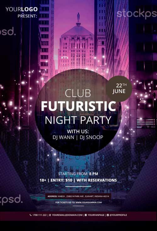 Club Futuristic Free PSD Flyer Template