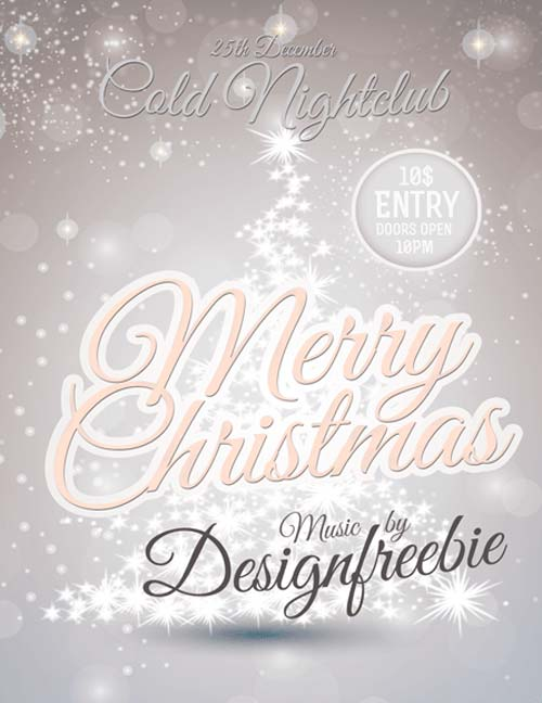 Download Snowy Christmas Party Free Psd Flyer Template