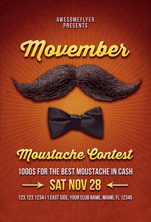 Download Free Movember Mustache Contest Flyer Template – Competition Flyer Template