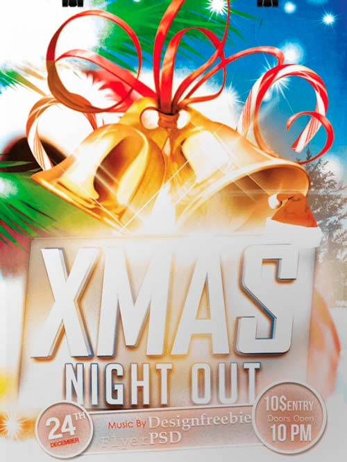 Christmas Night Out Party Free PSD Flyer Template