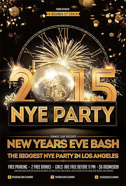 Download New Years Eve Free Psd Flyer Template