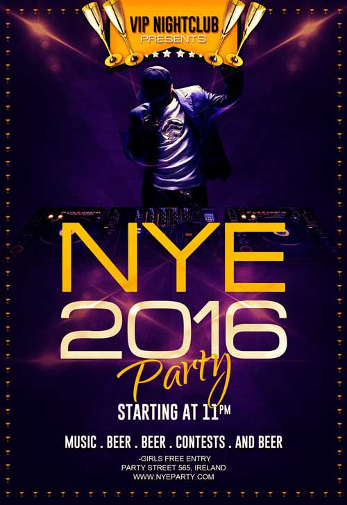 Free New Year Eve Party Flyer Template