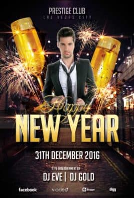 Free Happy New Year Club Flyer Template