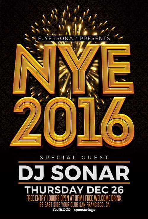 Home    Free Club Flyer    NYE 2016 Free PSD Flyer Template lTlstS7L