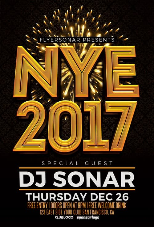 Download Nye 2017 Free Psd Flyer Template For Photoshop!