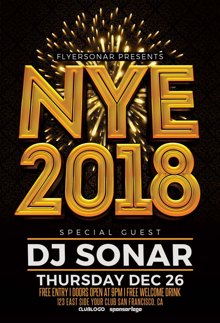 nye 2018 free psd flyer template for new year party events for free