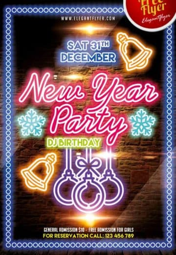 Free New Year Party PSD Flyer Template